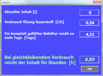 Bild zur Freeware, Dewarkalkulation (LOX)